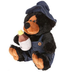 "10"" Plush Hillbilly Honey Black Bear By Giftable World®"