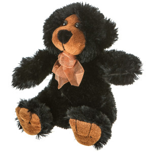 "7"" Plush Black Bear With Ribbon By Giftable World®"