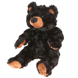 "9"" Plush Long Fur Black Bear By Giftable World®"