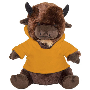 "10"" Plush American Buffalo With Customizable Hoodie By Giftable World®"