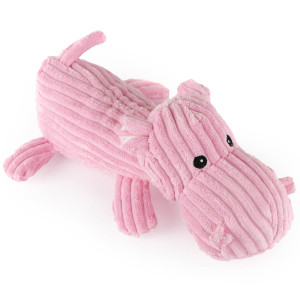 "12"" Corduroy Laying Hippo with Squeaker and Crinkle Ears - MetroPawlinPet Collection by GiftableWorld"