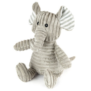 "9"" Corduroy Sitting Elephant with Squeaker and Crinkle Ears - MetroPawlinPet Collection by GiftableWorld"