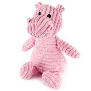 "9"" Corduroy Sitting Hippo with Squeaker and Crinkle Ears - MetroPawlinPet Collection by GiftableWorld"