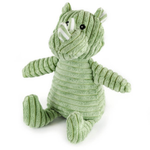 "9"" Corduroy Sitting Rhino with Squeaker and Crinkle Ears - MetroPawlinPet Collection by GiftableWorld"