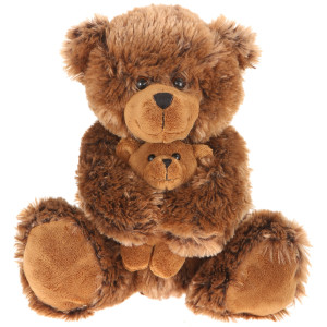"14"" Plush Shaggy Brown Bear With Baby By Giftable World®"