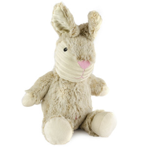 "9"" Two Tone Cuddle Bunny with Squeaker and Cordoroy Trim - MetroPawlinPet Collection by GiftableWorld"