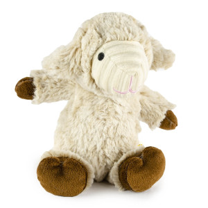 "7.5"" Two Tone Cuddle Lamb with Squeaker and Cordoroy Trim - MetroPawlinPet Collection by GiftableWorld"