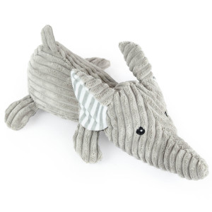 "12"" Corduroy Laying Elephant with Squeaker and Crinkle Ears - MetroPawlinPet Collection by GiftableWorld"