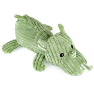 "12"" Corduroy Laying Rhino with Squeaker and Crinkle Ears - MetroPawlinPet Collection by GiftableWorld"