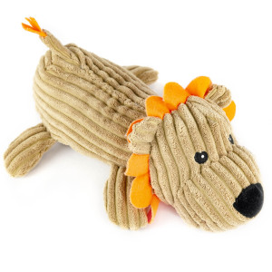 "12"" Corduroy Laying Lion with Squeaker and Crinkle Ears - MetroPawlinPet Collection by GiftableWorld"